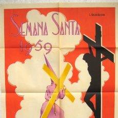 Carteles de Semana Santa: CARTEL SEMANA SANTA ALBACETE 1959 ILUSTRADO PRO GALLEGO BALTUEÑA LITOGRAFIA. Lote 25905510