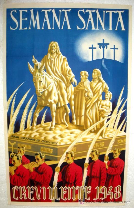 CARTEL CREVILLENTE ALICANTE , SEMANA SANTA 1948, LITOGRAFIA (Coleccionismo - Carteles Gran Formato - Carteles Semana Santa)