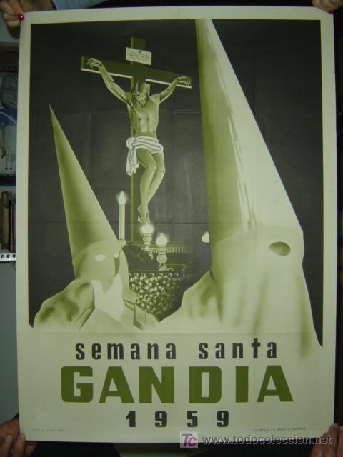GANDIA (VALENCIA) - SEMANA SANTA - AÑO 1959 (Coleccionismo - Carteles Gran Formato - Carteles Semana Santa)