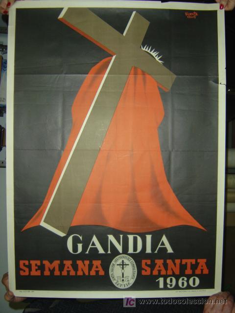 GANDIA (VALENCIA) - SEMANA SANTA - AÑO 1960 (Coleccionismo - Carteles Gran Formato - Carteles Semana Santa)