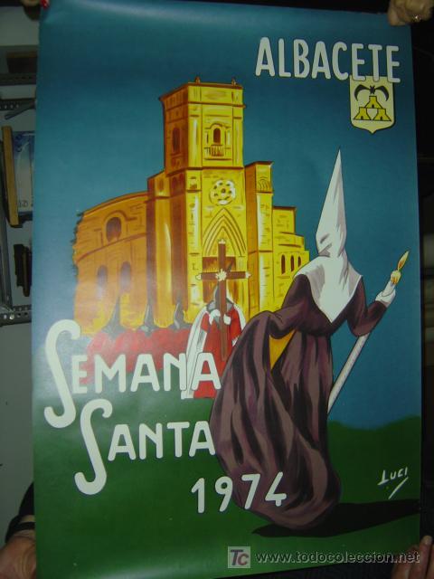 Carteles de Semana Santa: ALBACETE - SEMANA SANTA - AÑO 1974 - litografia - Foto 2 - 118425976