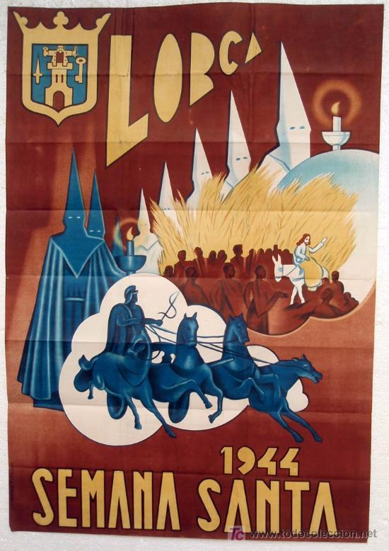 CARTEL LORCA MURCIA SEMANA SANTA 1944 GRANDE LITOGRAFIA ORIGINAL (Coleccionismo - Carteles Gran Formato - Carteles Semana Santa)
