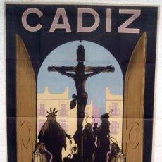 Carteles de Semana Santa: CARTEL SEMANA SANTA , CADIZ 1947 ,LITOGRAFIA, ILUSTRADOR EMILIO LUIS BARTUS. Lote 25579514