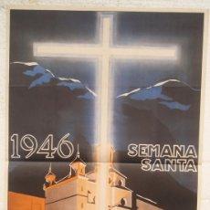 Carteles de Semana Santa: CARTEL SEMANA SANTA , CUENCA 1946 , LITOGRAFIA, ILUSTRADOR CABANAS. Lote 25579519