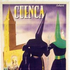 Carteles de Semana Santa: CARTEL SEMANA SANTA , CUENCA 1946 , LITOGRAFIA, ILUSTRADOR CABAÑAS. Lote 25905521