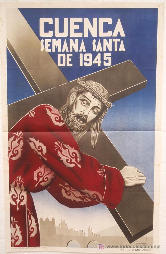 CARTEL SEMANA SANTA ,CUENCA 1945 , LITOGRAFIA, ILUSTRADOR M. CAUSADO (Coleccionismo - Carteles Gran Formato - Carteles Semana Santa)