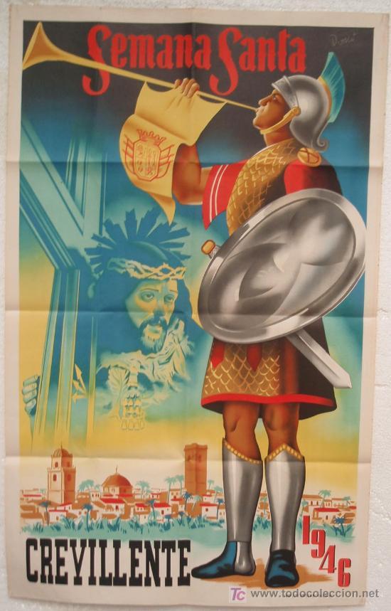 CARTEL SEMANA SANTA , CREVILLENTE 1946 VALENCIA, LITOGRAFIA , ILUSTRADOR DONAT (Coleccionismo - Carteles Gran Formato - Carteles Semana Santa)