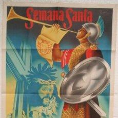 Carteles de Semana Santa: CARTEL SEMANA SANTA , CREVILLENTE 1946 VALENCIA, LITOGRAFIA , ILUSTRADOR DONAT. Lote 25579528