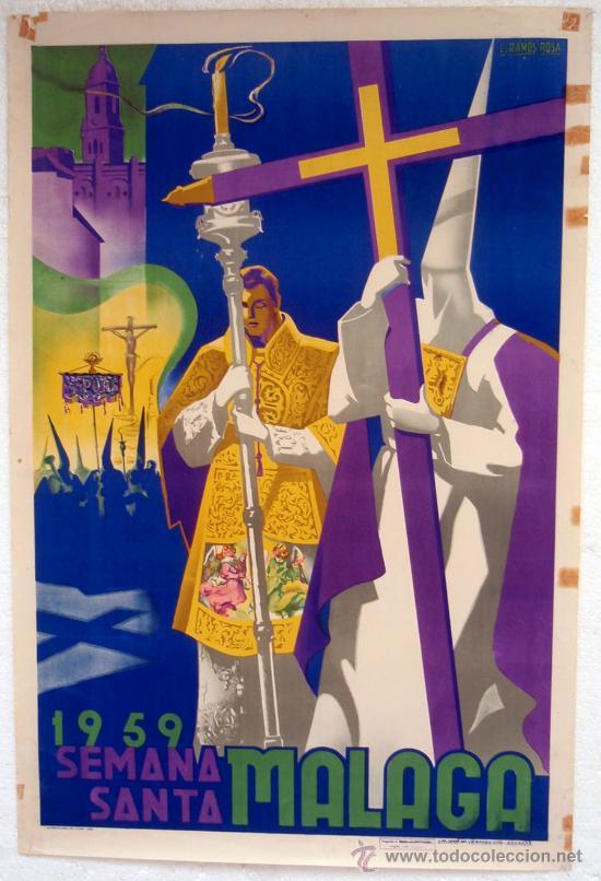 CARTEL MALAGA 1959 , SEMANA SANTA , ILUSTRADOR L. RAMOS ROSA (Coleccionismo - Carteles Gran Formato - Carteles Semana Santa)