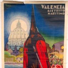 Carteles de Semana Santa: CARTEL VALENCIA, 1950 , SEMANA SANTA , LITOGRAFIA ,ILUSTRADOR IBOR. Lote 26047635