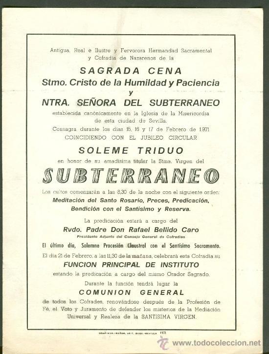 Carteles de Semana Santa: SEMANA SANTA DE SEVILLA. CALENDARIO DE CULTOS DE LA HERMANDAD DE LA CENA . AÑO 1971 - Foto 2 - 27488097