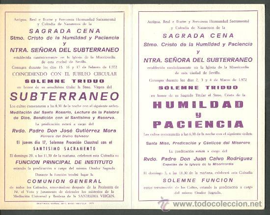 Carteles de Semana Santa: SEMANA SANTA DE SEVILLA. CALENDARIO DE CULTOS DE LA HERMANDAD DE LA CENA . AÑO 1971 - Foto 2 - 27233461