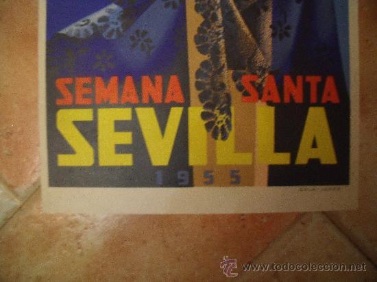 Carteles de Semana Santa: ORIGINAL CARTEL DE SEMANA SANTA DE SEVILLA DEL AÑO 1955 POR F.MARISCAL - ORLA -JEREZ. LITOGRAFIA. - Foto 2 - 29344405
