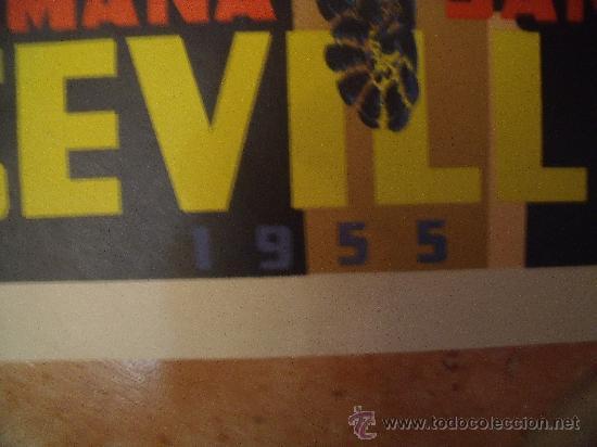 Carteles de Semana Santa: ORIGINAL CARTEL DE SEMANA SANTA DE SEVILLA DEL AÑO 1955 POR F.MARISCAL - ORLA -JEREZ. LITOGRAFIA. - Foto 3 - 29344405