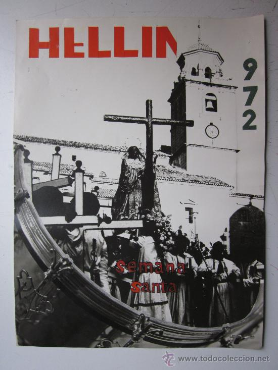 HELLIN, ALBACETE - NO ES CARTEL IMPRESO, ORIGINAL DE LA LITOGRAFIA ORTEGA VALENCIA - AÑO 1972 (Coleccionismo - Carteles Gran Formato - Carteles Semana Santa)