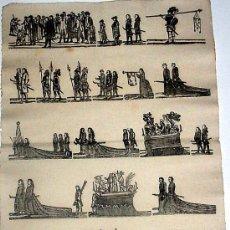 Carteles de Semana Santa: ANTIGUA LAMINA DE ESTAMPERIA DE SEMANA SANTA 1850 APORX., IMPRENTA DE ESTIVILL, CALLE DE LA BORIA – . Lote 30639200