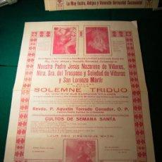 Carteles de Semana Santa: SEMANA SANTA DE MALAGA CARTEL COFRADIA DE VIÑEROS TRIDUO AÑO 1973. Lote 30762621