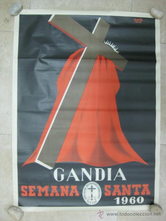 GANDIA (VALENCIA) - SEMANA SANTA - LITOGRAFIA - AÑO 1960 (Coleccionismo - Carteles Gran Formato - Carteles Semana Santa)