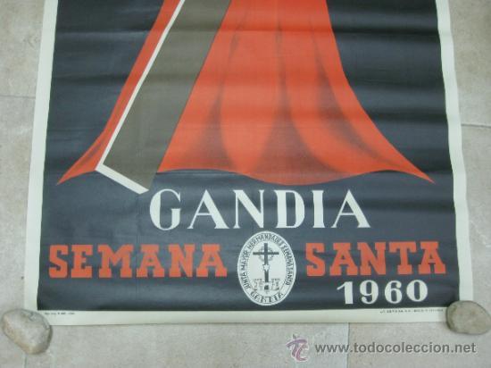 Carteles de Semana Santa: GANDIA (VALENCIA) - SEMANA SANTA - LITOGRAFIA - AÑO 1960 - Foto 3 - 30984035