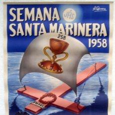Carteles de Semana Santa: CARTEL SEMANA SANTA MARINERA, VALENCIA 1958, ILUSTRADOR CABRERA, LITOGRAFIA, ORIGINAL. Lote 169267092
