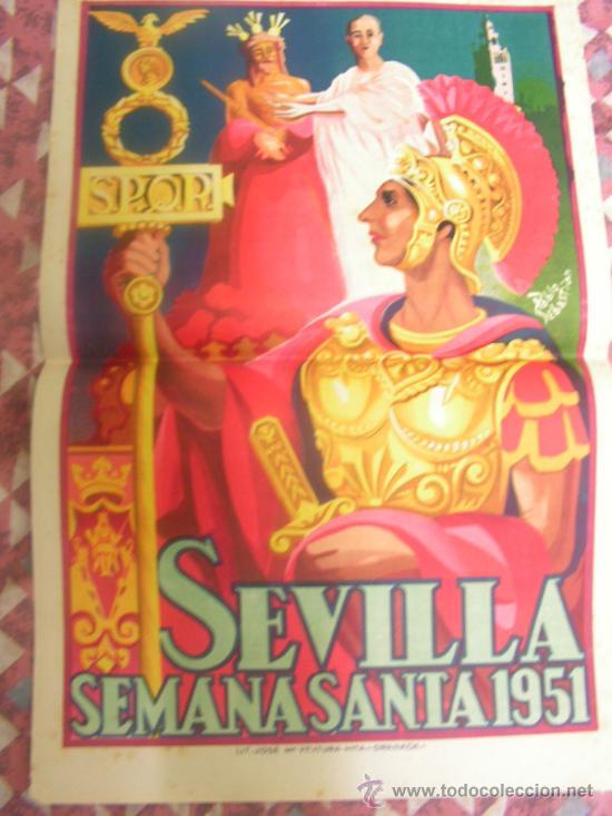+ SEVILLA. SEMANA SANTA 1951 CARTEL 32 X 49,5 ORIGINAL PABLO SEBASTIAN LITOGRAFÍA VENTURA HITA (Coleccionismo - Carteles Gran Formato - Carteles Semana Santa)