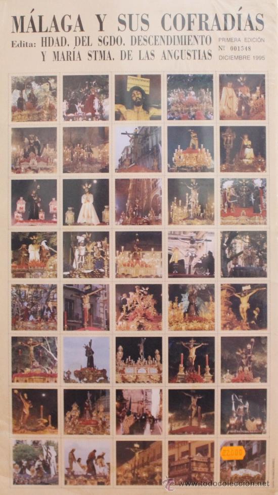 MÁLAGA Y SUS COFRADÍAS: 80 IMÁGENES DE LA SEMANA SANTA DE MALAGA EN FORMATO SELLO. NUMERADO 001548 (Coleccionismo - Carteles Gran Formato - Carteles Semana Santa)