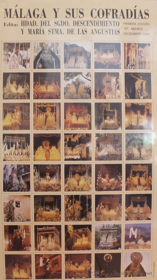 Carteles de Semana Santa: MÁLAGA Y SUS COFRADÍAS: 80 IMÁGENES DE LA SEMANA SANTA DE MALAGA EN FORMATO SELLO. NUMERADO 001548 - Foto 2 - 32684057