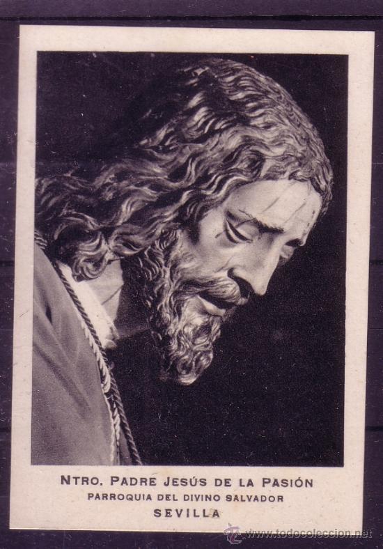 SEMANA SANTA SEVILLA - ESTAMPA RECORDATORIO DE LA COMUNION GENERAL DE 1950 - HDAD DE PASION (Coleccionismo - Carteles Gran Formato - Carteles Semana Santa)