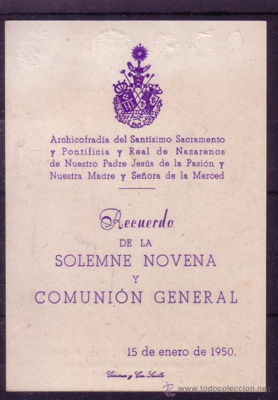 Carteles de Semana Santa: SEMANA SANTA SEVILLA - ESTAMPA RECORDATORIO DE LA COMUNION GENERAL DE 1950 - HDAD DE PASION - Foto 2 - 34376415