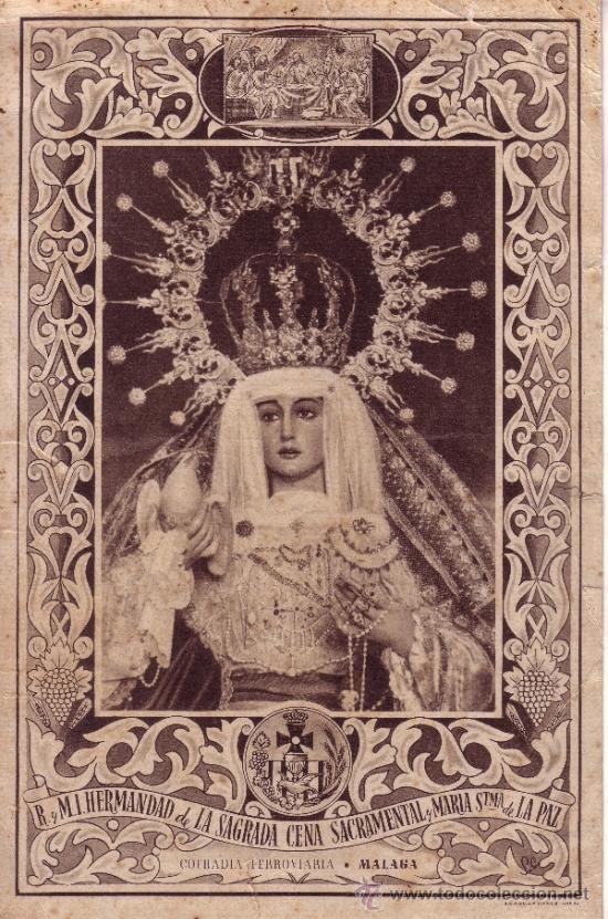 SEMANA SANTA MALAGA - CARTEL DE 20X30 CM - FOURNIER - MARIA SANTISIMA DE LA PAZ - HDAD DE LA CENA (Coleccionismo - Carteles Gran Formato - Carteles Semana Santa)