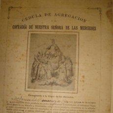 Carteles de Semana Santa: CÉDULA DE AGREGACIÓN A LA COFRADÍA NTA.SRA. DE LAS MERCEDES, JEREZ DE LA FRONTERA, SEMANA SANTA 1920. Lote 35529359