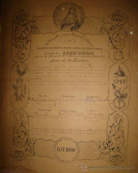 JEREZ DE LA FRONTERA, CÁDIZ, SEMANA SANTA, NUESTRA SEÑORA DEL MAYOR DOLOR, 1891, MUY RARO, 33X42CM (Coleccionismo - Carteles Gran Formato - Carteles Semana Santa)