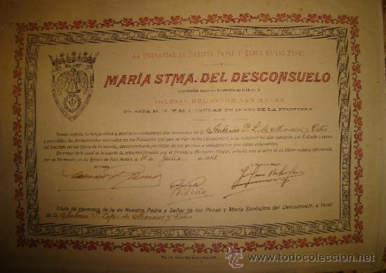 JEREZ, SEMANA SANTA 1941, COFRADÍA DEL DESCONSUELO, ADMISIÓN DE UN COFRADE, 35X25CM (Coleccionismo - Carteles Gran Formato - Carteles Semana Santa)