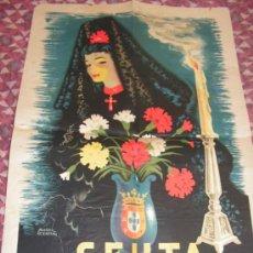 Carteles de Semana Santa: CEUTA SEMANA SANTA AÑO 1952 ANTIGUO CARTEL GRAN TAMAÑO 46 X 69 CM ORIGINAL. Lote 35922615