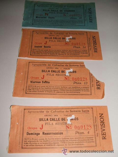 MALAGA SEMANA SANTA 1954 ABONOS DE SILLAS CALLES DE LARIOS Y GRANADA AGRUPACION DE COFRADIAS segunda mano