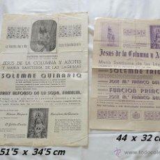 Carteles de Semana Santa: LOTE DOS CARTELES COFRADIA JESUS DE LA COLUNMA CADIZ AÑOS 40. Lote 39331408