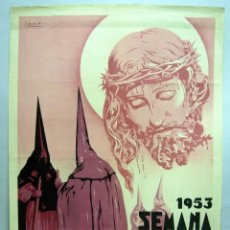 Carteles de Semana Santa: CARTEL SEMANA SANTA VALENCIA DISTRITO MARÍTIMO 1953 IBOR LITOGRAFÍA ORTEGA VALENCIA. Lote 39610442