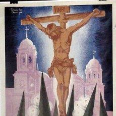Carteles de Semana Santa: EXCEPCIONAL CARTEL DE CADIZ, SEMANA SANTA 1962, ILUSTRADO POR RICARDO ANAYA – MIDE 93 X 61 CMS.. Lote 38280935
