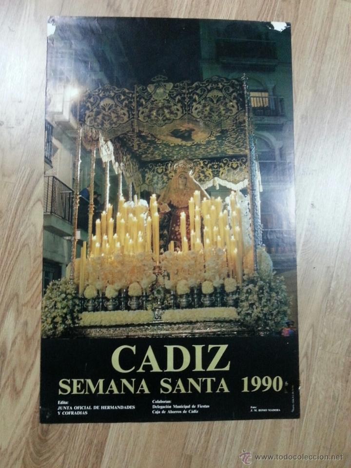 CARTEL SEMANA SANTA CÁDIZ 1990 43X70 CM (Coleccionismo - Carteles Gran Formato - Carteles Semana Santa)