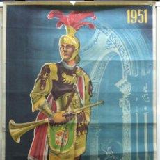 Carteles de Semana Santa: CARTEL DE SEMANA SANTA 1951 - CARTAGENA (MURCIA). CARTAGENA: 1951. 63X100. CARTEL. NORMAL (CON SEÑAL. Lote 42139436