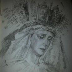 Carteles de Semana Santa: 24 X 16 ILUSTRACION SEMANA SANTA SEVILLA - VIRGEN O CRISTO , IDEAL PARA ENMARCAR. Lote 42815489