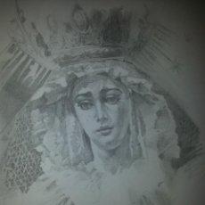 Carteles de Semana Santa: 24 X 16 ILUSTRACION SEMANA SANTA SEVILLA - VIRGEN O CRISTO , IDEAL PARA ENMARCAR. Lote 42815555