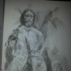 Carteles de Semana Santa: 24 X 16 ILUSTRACION SEMANA SANTA SEVILLA - VIRGEN O CRISTO , IDEAL PARA ENMARCAR. Lote 42815577
