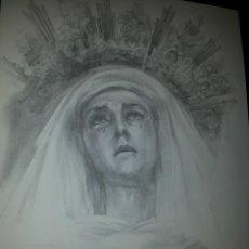 Carteles de Semana Santa: 24 X 16 ILUSTRACION SEMANA SANTA SEVILLA - VIRGEN O CRISTO , IDEAL PARA ENMARCAR. Lote 42815589