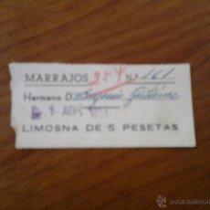 Carteles de Semana Santa: ANTIGUO VALE CARTON LIMOSNA MARRAJOS SEMANA SANTA CARTAGENA MURCIA. Lote 42959139