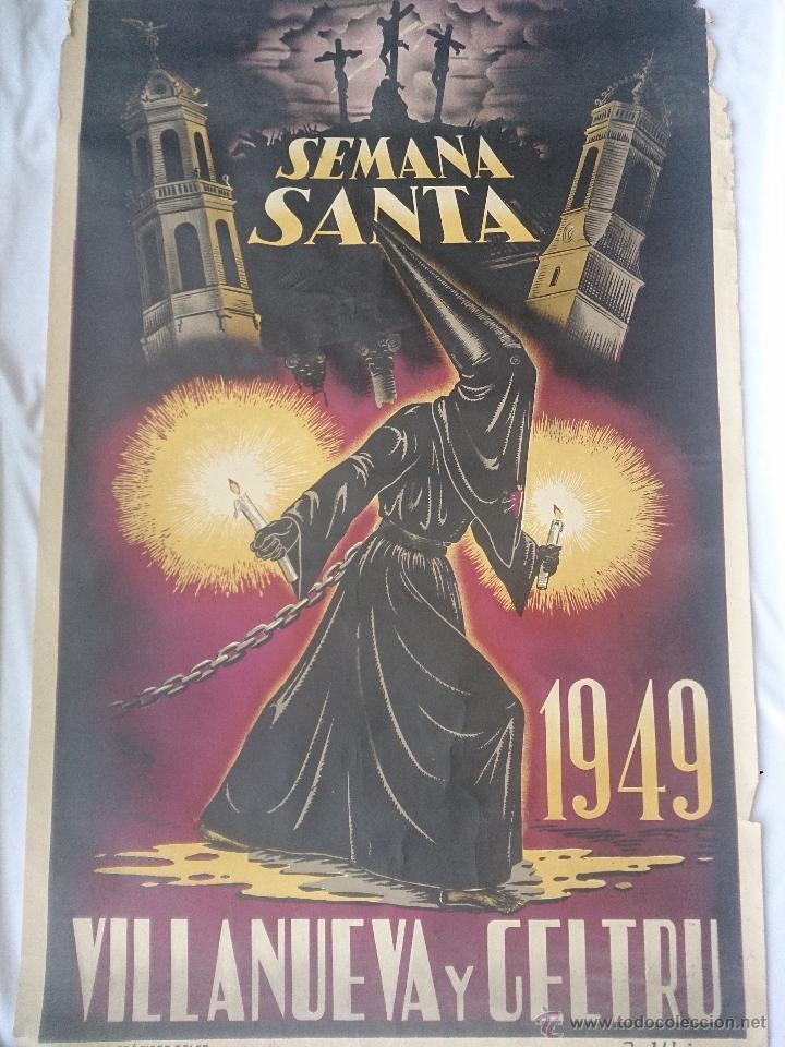 CARTEL DE LA SEMANA SANTA DE VILLANUEVA Y GELTRÚ DEL AÑO 1949. 60 X 100 CM. CARTEL ORIGINAL DE LA (Coleccionismo - Carteles Gran Formato - Carteles Semana Santa)