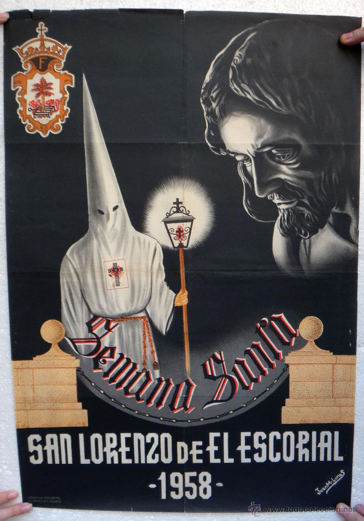 CARTEL SEMANA SANTA , SAN LORENZO DEL ESCORIAL 1958 , MADRID , ORIGINAL , H (Coleccionismo - Carteles Gran Formato - Carteles Semana Santa)