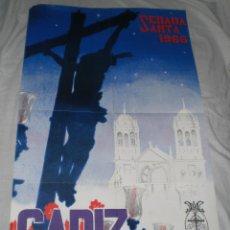Carteles de Semana Santa: CARTEL DE LA SEMANA SANTA DE CADIZ. 1966. RICARDO ANAYA. 87 X 55 CM. MUY BUEN ESTADO.. Lote 44455654