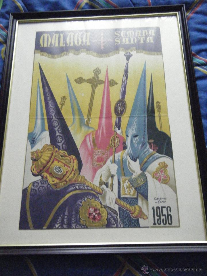 CARTEL SEMANA SANTA DE MÁLAGA AÑO 1956 ENMARCADO (Coleccionismo - Carteles Gran Formato - Carteles Semana Santa)