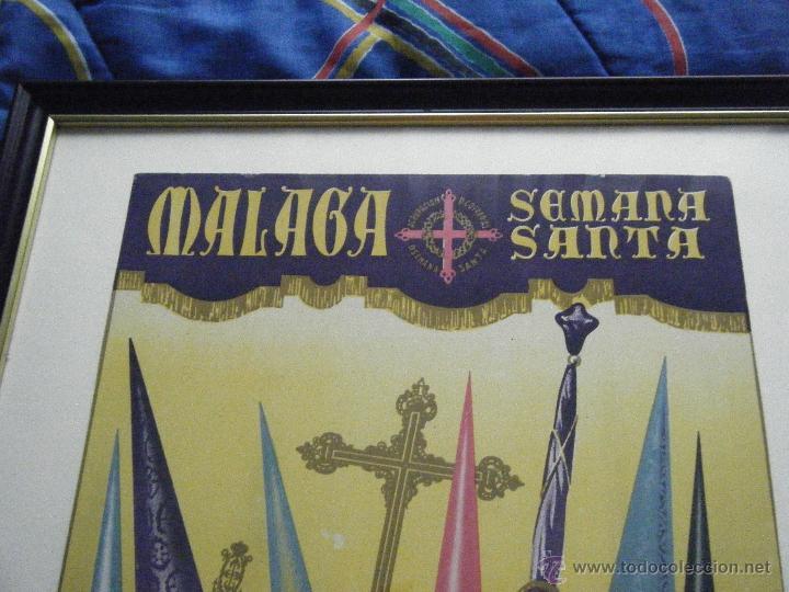 Carteles de Semana Santa: CARTEL SEMANA SANTA DE MÁLAGA AÑO 1956 ENMARCADO - Foto 3 - 46226980